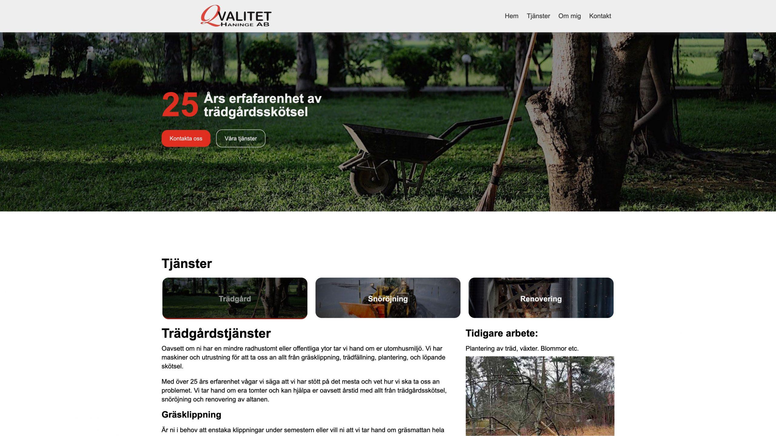 Qvalitet haninges webbdesign